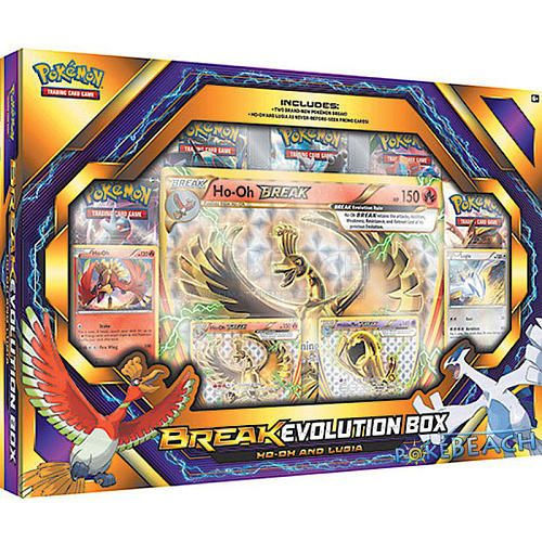 Break Evolution is a special way to power up your Pokemon - and this box features the Legendary Pokemon Ho-Oh as a brand-new Pokemon Break, along with never-before-seen promo cards featuring Ho-Oh, Lugia, and Wobbuffet Break! Go for the gold with the Pokemon TCG: Break Evolution Box Featuring Ho-Oh and Lugia! 4 never-before-seen foil promo cards: Ho-Oh Break, Wobbuffet Break, Ho-Oh, and Lugia! 5 Pokemon TCG booster packs to expand your collection! An oversize foil card featuring Ho-Oh…