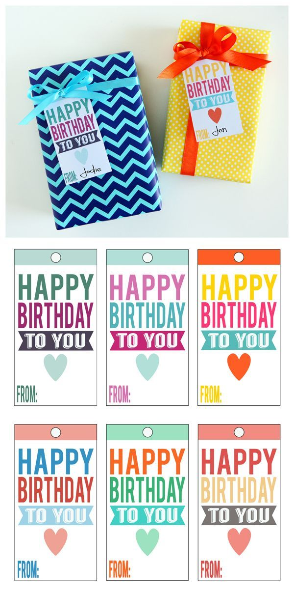 Free Printable Happy Birthday Tags. No need for store bought, these cute little tags are perfect for those birthday gifts.