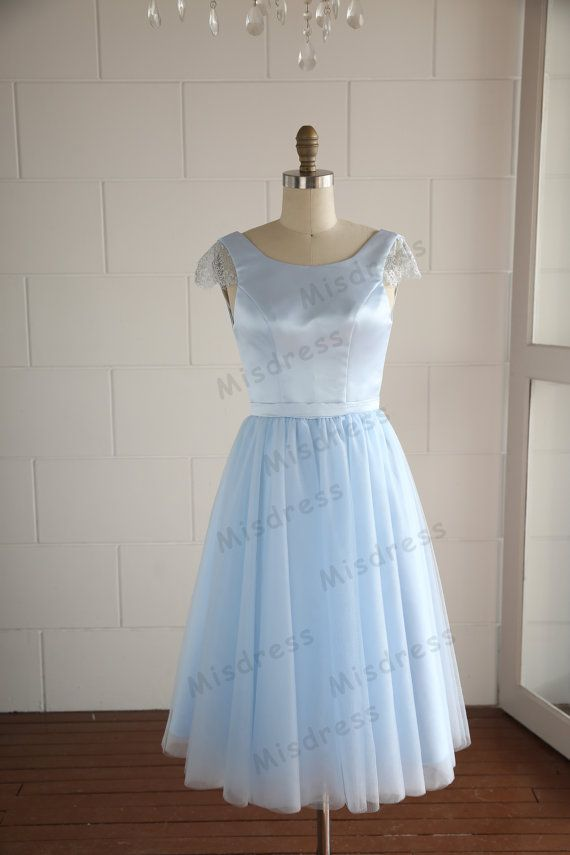 Mint blue lace tulle wedding dress bridesmaid dress prom for Etsy tea length wedding dress
