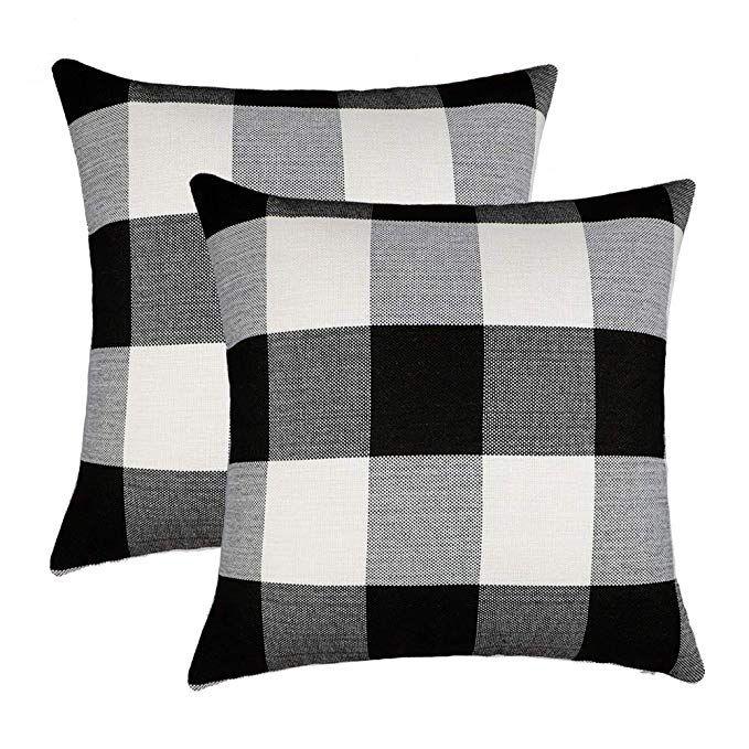 4th Emotion Farmhouse Decor Black And White Buffalo Checkers Plaids Cotton Linen Throw Pillow Cover Cushio Plaid Throw Pillows Throw Pillows Linen Throw Pillow