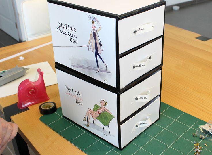 Cela fait plus d'un an que je suis abonnée à My Little Box et elles ont beau être super jolies… au bout d'un moment, on ne sait plus quoi en faire alors j'ai décidé d'en faire des petits tiroirs. Vous me direz : « oui déjà vu sur d'autres blogs… » sauf que j'ai amélioré un peu …