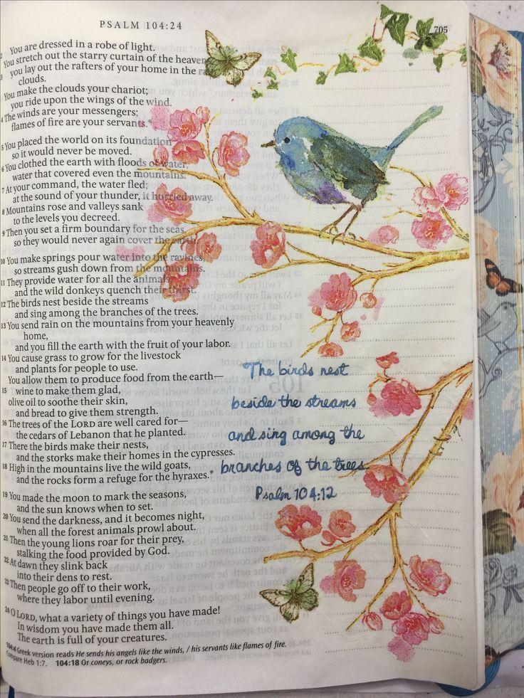Bible Journaling - Psalm 104:12, Napkin Technique