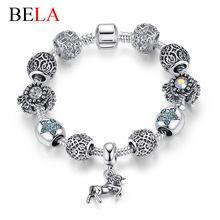 Auténtica europea GRANOS de la joyería 925 pulsera de plata Fina con…