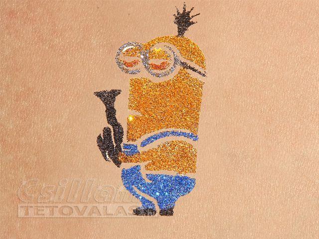 Minion csillámtetoválás sablon: Kevin. #csillamtetovalas #minion #glittertattoo