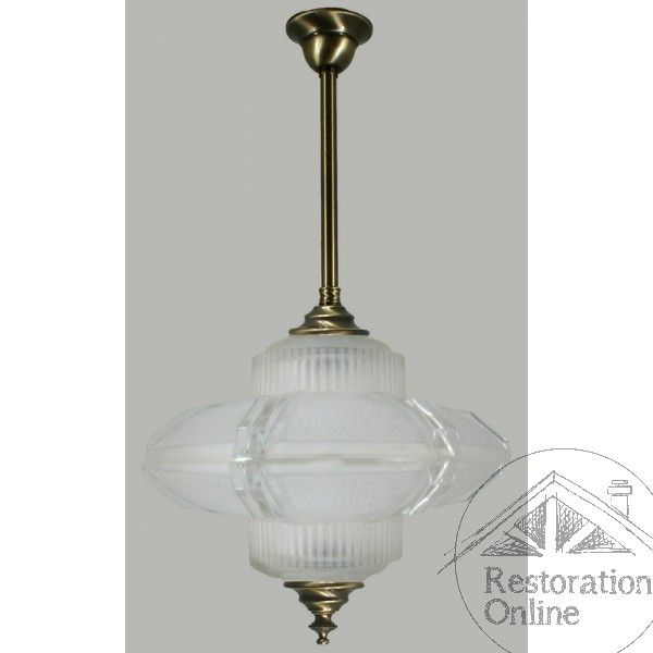 Antique Brass Marriott 3 Light Saucer Pendant with Renoir Glass - Restoration Online