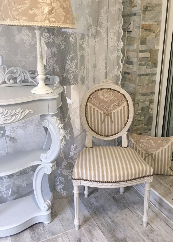 Chaise médaillon lin clair rayures toile de Jouy dentelle romantique Shabby Chic : Meubles et rangements par monautrefois