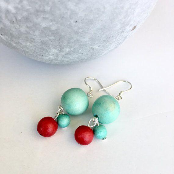 munt en rode oorbellen / turquoise en rode oorbellen door BevinBold