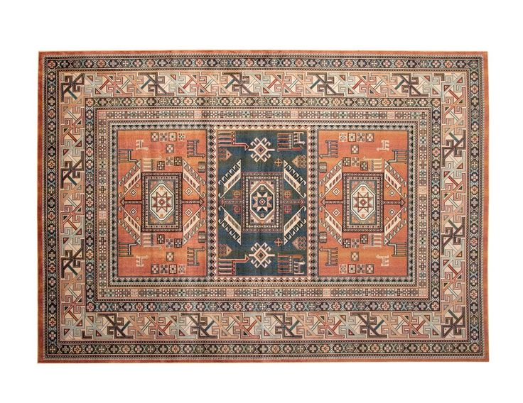 The Ovid Aqua Copper Black And Ivory Area Rug Is