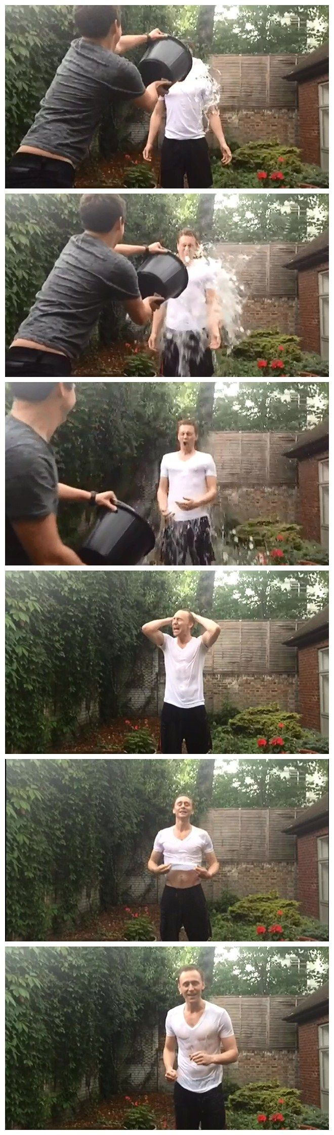 Tom Hiddleston ALS Ice Bucket Challenge (Complete Version)<<Thank goodness for all of this. I wonder if he even has half of an idea about how viral this thing went. :)