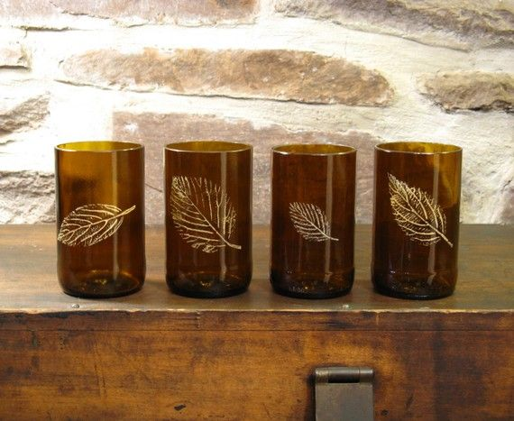 hand painted recycled beer bottle glasses - i would rather put candles in it