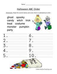 Halloween ABC Sorting Worksheet