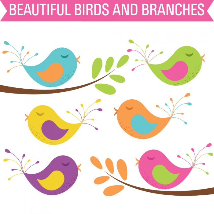 Vector Clip Art Birds and Branches