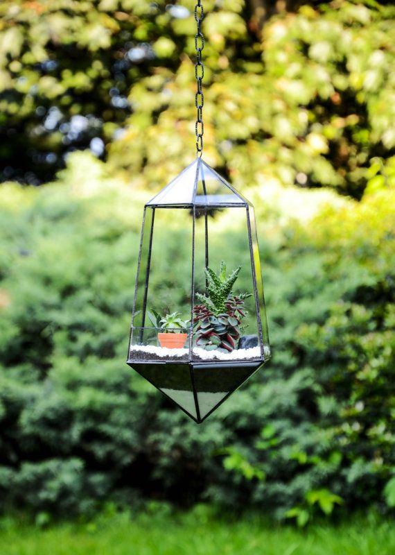 Hanging Glass Terrarium - Geometric Planter - Stained Glass Terrarium