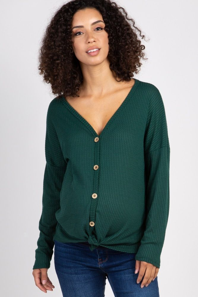 b777aacf25126 Green Waffle Knit Button Tie Front Maternity Top in 2018 | Fashion ...