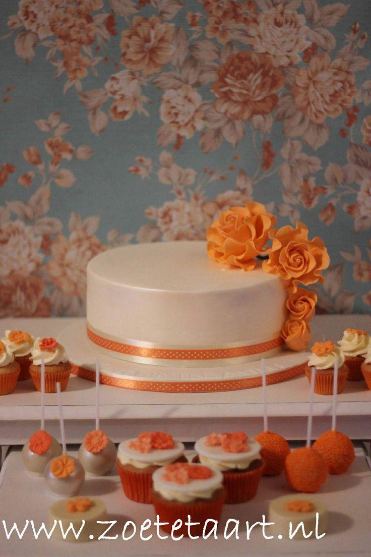 Orange weddingcake with Cakepops, cupcakes and chocolate!
