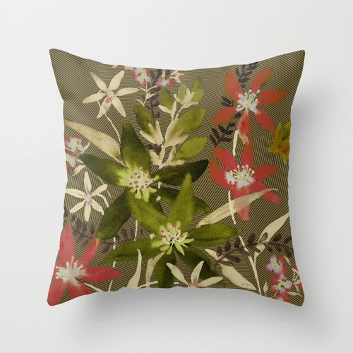 Fall With Coral And Green Throw Pillow