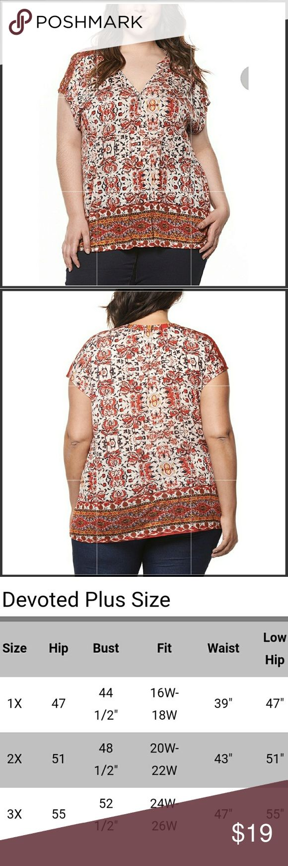 Boho plus size top NWT This is the perfect piece to build a boho look,this is a very cute and very bold pattern that flatters your figure with a deep v neck,the material has some stretch and fits true to size.price FIRM Tops