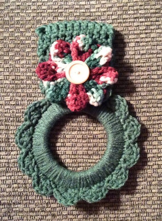 Kitchen towel hanger crochet towel hanger by Yarnhotoffthehook