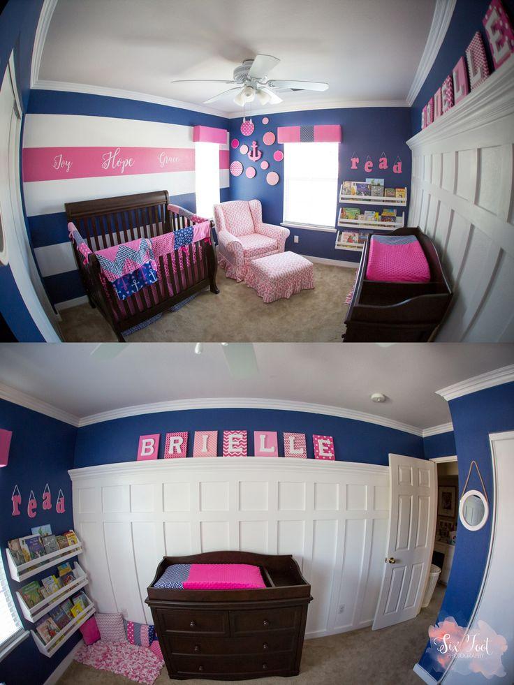 pink and blue newborn room, nautical theme nursery, baby girl nursery