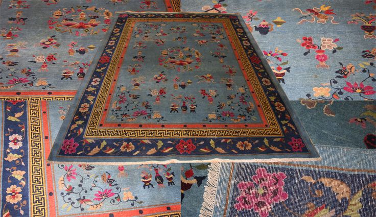 A new arrival is this old handmade #chinese wool #carpet circa 1940 in attractive blue #colour. Visit our website