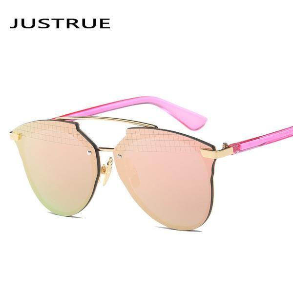 a1d8314ea362 FuzWeb:JUSTRUE New Reflective Sunglasses Pixelated Lens Mirrored or  Gradient Options Women Lady Sunglasses