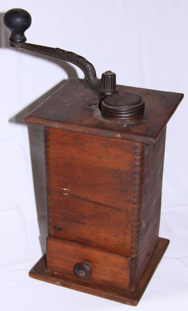 Coffee Maker With Coffee Bean Grinder : ANTIQUE WOOD COFFEE BEAN GRINDER UNKNOWN MAKER Coffee Cans! Grinders! Tins Pinterest ...
