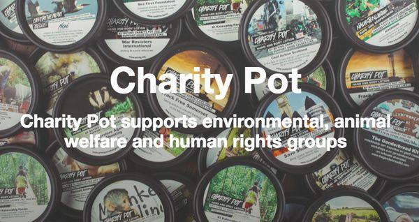 La marca de cosméticos Lush, tiene una crema hidratante en su linea fija llamada Charity Pot; el 100% de los beneficios salvo las tasas van a diferentes organizaciones locales que tienen dificultades para recolectar fondos. Se centran en causas que representan a la marca, como la protección de los animales, la conservación del medio ambiente, y la defensa de los derechos humanos.