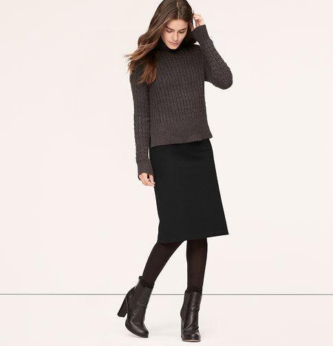 Petite Long Ponte Pencil Skirt   Loft