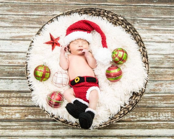 2015 Soft New Cute Newborn Baby Costume Photography Prop Santa Claus Hat Suit Infant Girl and Boy Knit Crochet Fashion