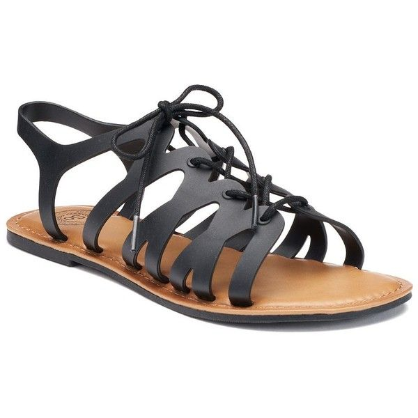 SO® Women's Jelly Gladiator Sandals ($15) ❤ liked on Polyvore featuring shoes, sandals, black, black strappy sandals, black lace up sandals, black jelly sandals, strap sandals and black sandals