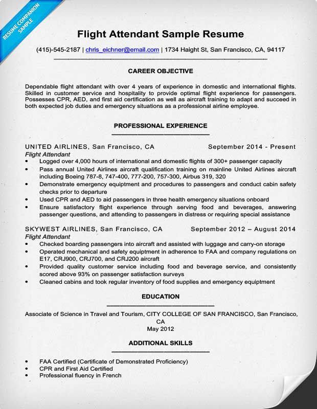 Flight Attendant Resume Sample cheap flight Flight attendant