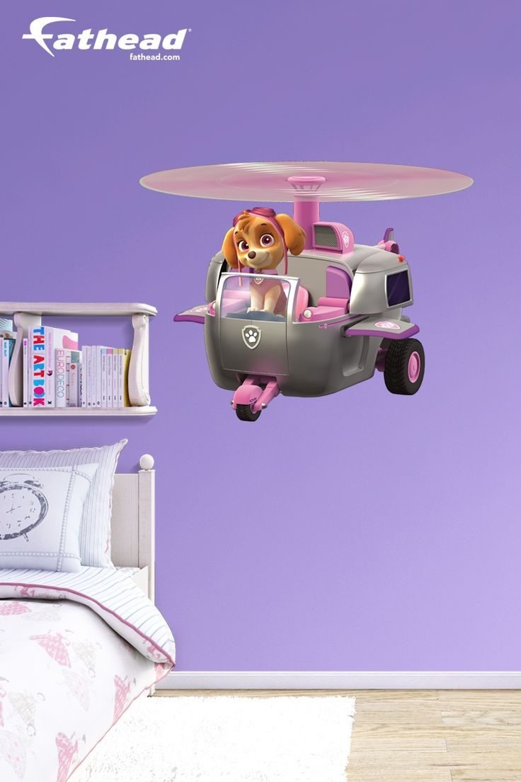 Girls Bedroom | Are you having a hard time finding a PAW Patrol poster of Skye that is BIG enough? How about one that doesn't need tape, tacks or putty? Fathead wall decals are easy to put up and easy to take down. SHOP http://www.fathead.com/nickelodeon/paw-patrol/skyes-helicopter-wall-decal/ | DIY Girls Bedroom Decor Ideas | Custom Decals | Wall Murals |  Nickelodeon | Fathead Wall Decals