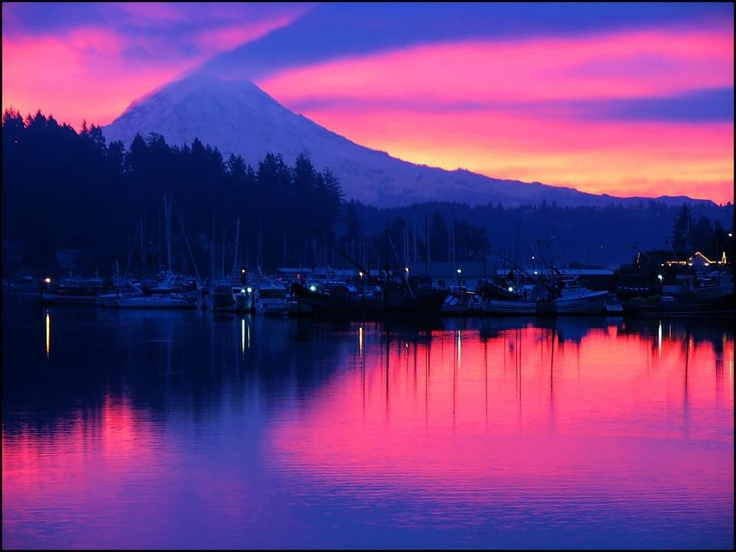 Everything Washington      Is your Destination Gig Harbor, Washington?  Enjoy Gig Harbor & Mount Rainier Sunrises-   Photo Credit- Steve Biber