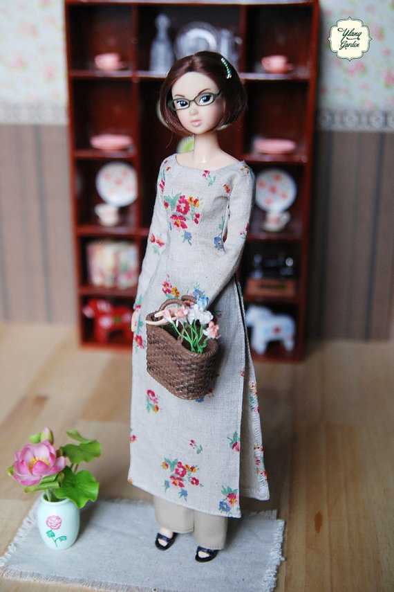 Pre-order - Traditional Long Dress Vietnamese Áo Dài with vintage small flowers