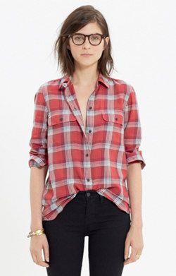 Madewell :: Ex-Boyfriend Shirt in Cherry Plaid