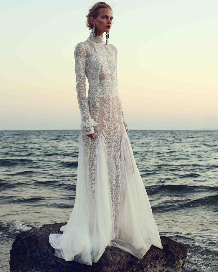 429 best bohemian beach style wedding images on pinterest for Long sleeve turtleneck wedding dress