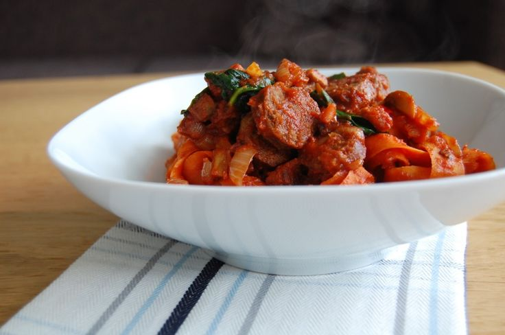 Carrot Pasta with Bacon, Sausage and Tomato Sauce-small