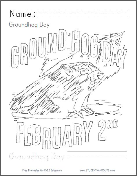 groundhog day coloring page fun for little ones on february 2nd free printable coloring - February Coloring Sheets
