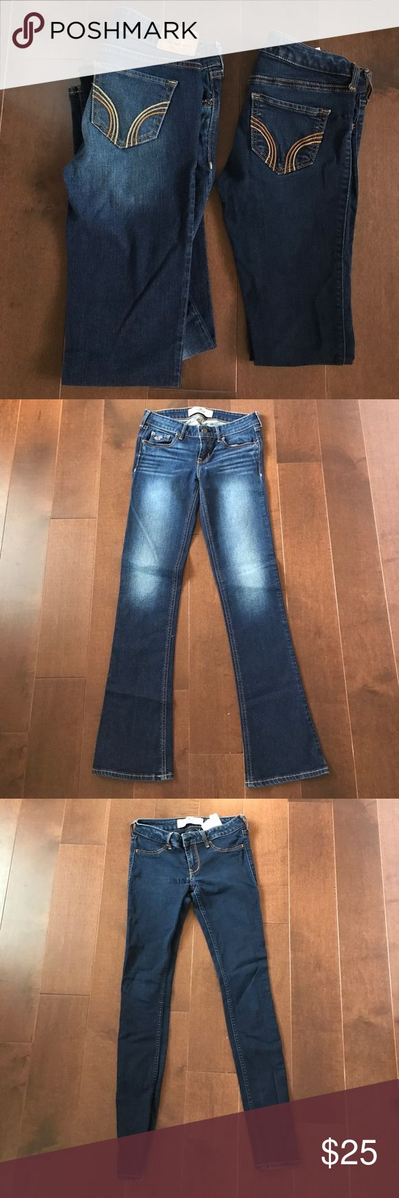 Hollister Jean (bundle) Selling both pairs for price listed below or let me know if you would like to purchase any individually. One dark wash boot cut size 1 SHORT (w 25 l 31) and one dark wash skinny jean size 1 REGULAR (w 25 l 29) Both are in perfect condition :) Hollister Jeans