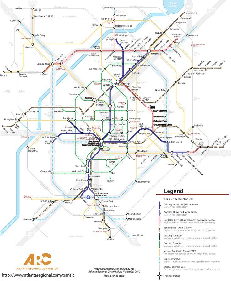 Atlanta Transit Fantasy Map MARTA Subway Light Rail