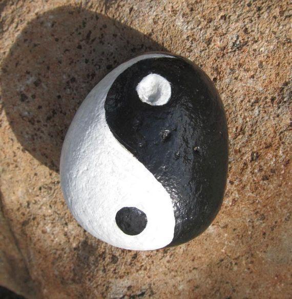 Yin Yang RockHand Painted Stone ZenInspiration Meditation