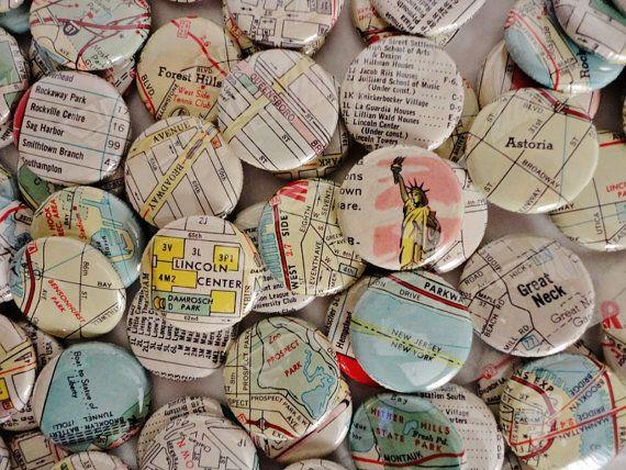 Handmade Wedding Favors - I Heart New York-100 1 Inch Pinback Buttons