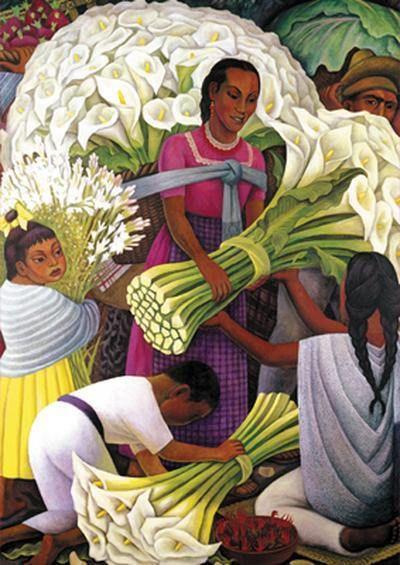 TUCHAS VENDIENDO FLORES CON AYUDANTE /// Diego-Rivera-vendedora-de-flores-1949