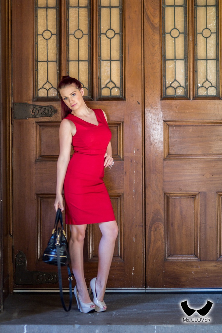 Red pencil dress #fashion #workwear