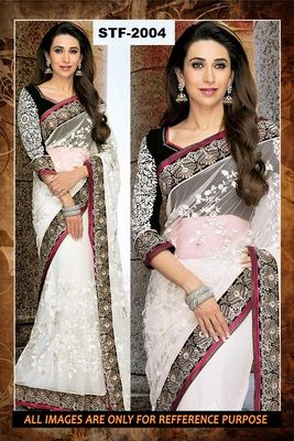white black ambroidery georgette  party wear saree with blouse Sarees on Shimply.com