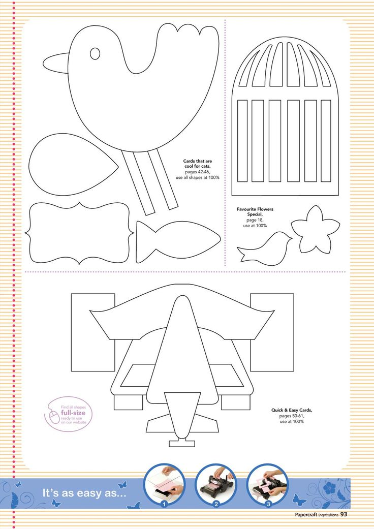 36 best birthday cards templates images on pinterest for Papercraft bird template