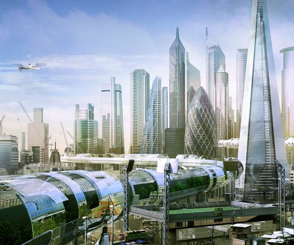 A new London skyline vision - just like Sci-Fi book covers might have predicted.