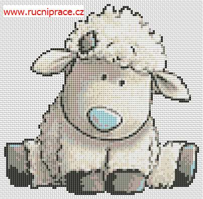Lamb, free cross stitch patterns and charts - www.free-cross-stitch.rucniprace.cz