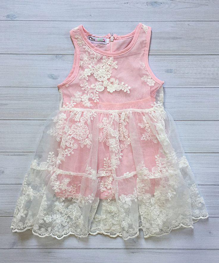 Take a look at this Pink Floral Lace Spring Tank Dress - Infant, Toddler & Girls today!