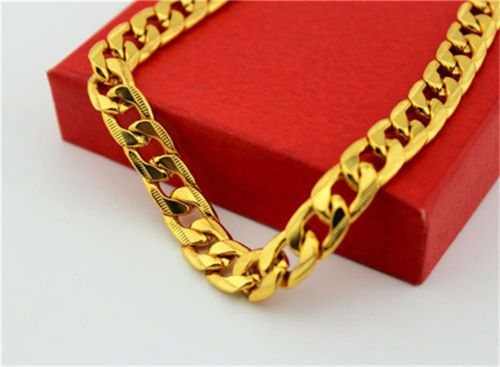 "Gold 24"" Chain, 24 k Yellow Gold Filled , With Gift Box,USA, Bling #silvestri"